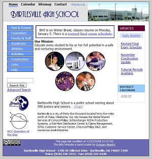 BHS Website in 2006-2008