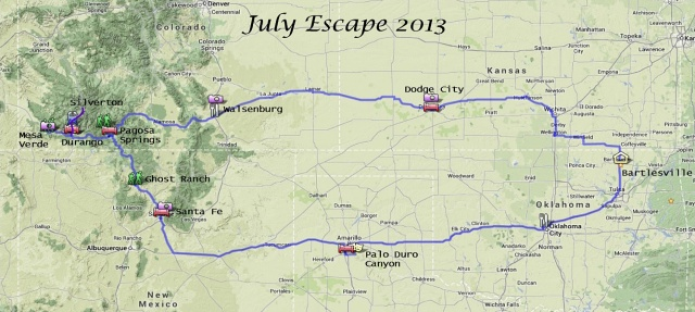 July Escape 2013 Map