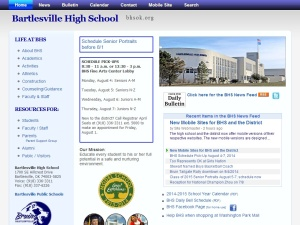 The high school's homepage