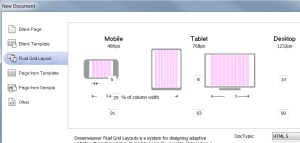 Fluid layout options in Dreamweaver CS6