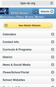 Homepage of my completed district mobile site