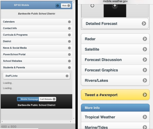 My first jQuery page and a NWS mobile page