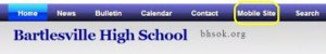 The high school site header bar also got a new mobile link