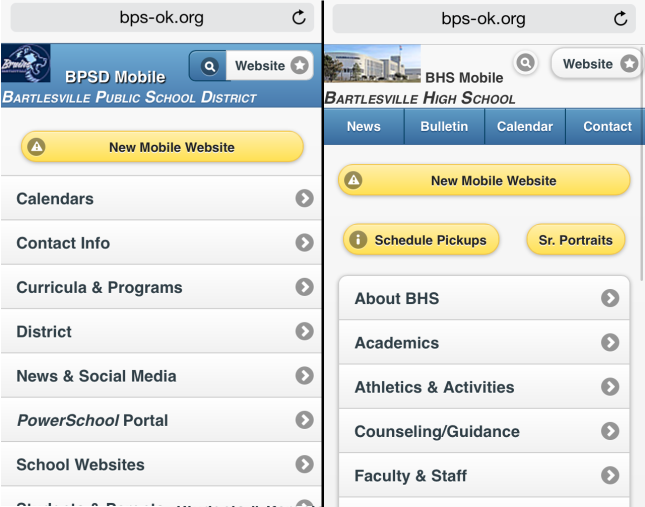 A button bar in the header distinguishes the high school mobile site