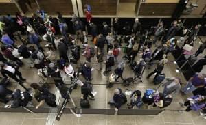 A typical TSA screening line