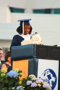 Sr. Class President said at the Class of 2017 Commencement it was time for Fluffy to graduate